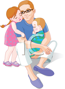 Royalty Free Clipart Image of a Father With His Children