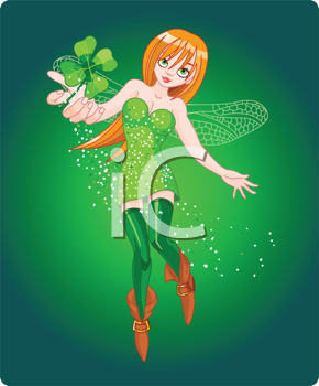 Royalty Free Clipart Image of a Fairy Holding a Clover