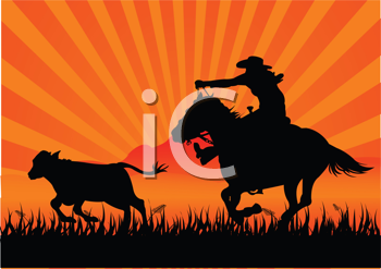 Royalty Free Clipart Image of a Silhouette of a Cowboy Roping a Calf