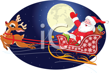 Royalty Free Clipart Image of Santa Claus Flying His Sleigh Through the Night Sky