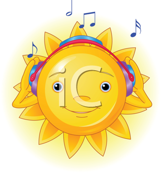 Royalty Free Clipart Image of a Cartoon Sun Listening to Music
