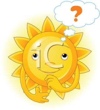 Royalty Free Clipart Image of Cartoon of a Summer Sun Thinking