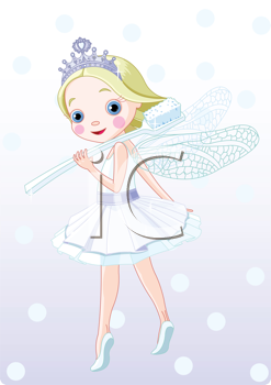 Royalty Free Clipart Image of  a Smiling Tooth Fairy Holding a Toothbrush