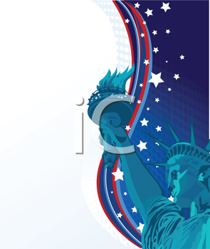 Royalty Free Clipart Image of a Statue of Liberty With an American Stars and Stripes Border