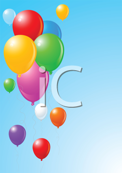 Royalty Free Clipart Image of Balloons on Blue