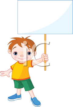 Royalty Free Clipart Image of a Boy With a Sign