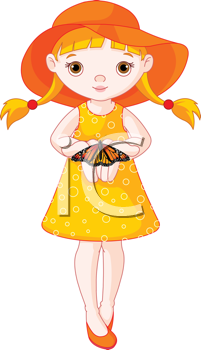 Royalty Free Clipart Image of a Little Girl With a Butterfly