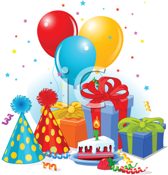 Royalty Free Clipart Image of Birthday Hats, Balloons and Presents