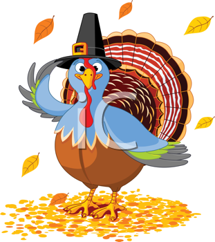 Royalty Free Clipart Image of a Thanksgiving Turkey in a Pilgrim Hat