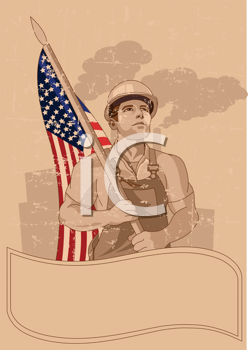 Royalty Free Clipart Image of a Construction Worker With an American Flag and Space For Text