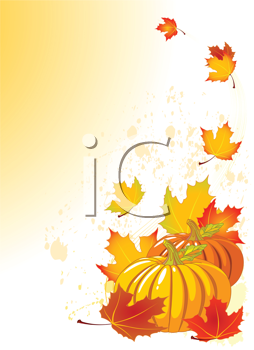 Royalty Free Clipart Image of Pumpkins and Falling Leaves