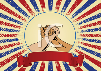 Royalty Free Clipart Image of Workers Hands for Labour Day