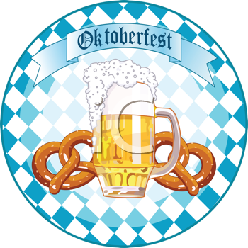 Royalty Free Clipart Image of a Round Oktoberfest Design With a Beer and Pretzels