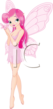 Royalty Free Clipart Image of a Fairy With a Butterfly