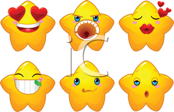 Royalty Free Clipart Image of a Set of Yellow Stars With Different Facial Experssions