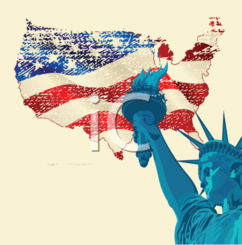 A grunge design with the statue of liberty