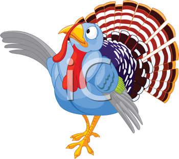 Illustration of Thanksgiving Cartoon turkey presenting