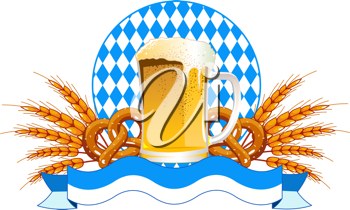 Round Oktoberfest Celebration design with beer and wheat ears