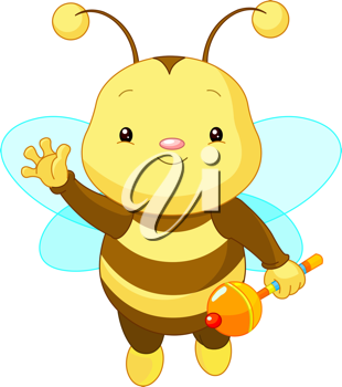 Friendly Cute Baby Bee with rattle