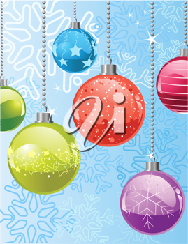 Christmas background with   snowflakes and balls