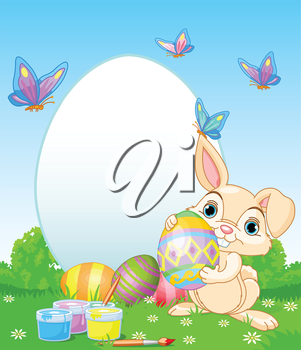 Royalty Free Clipart Image of an Easter Bunny With Eggs and Butterflies
