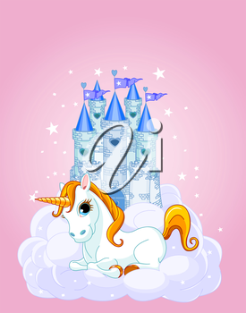 Royalty Free Clipart Image of a Fairy Tale Castle and Unicorn