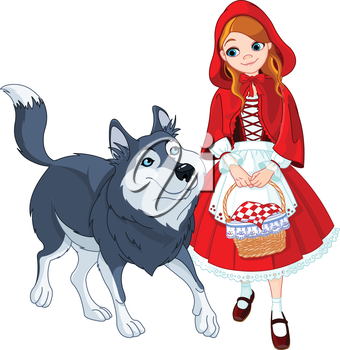 Royalty Free Clipart Image of Little Red Riding Hood and the Wolf