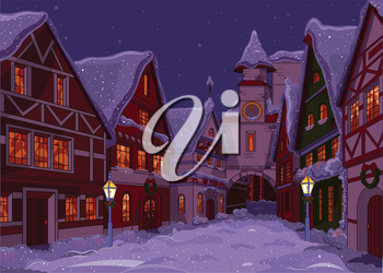 Royalty Free Clipart Image of a Christmas Town Street at Night