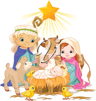 Royalty Free Clipart Image of the Nativity