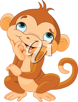 Royalty Free Clipart Image of a Thoughtful Monkey