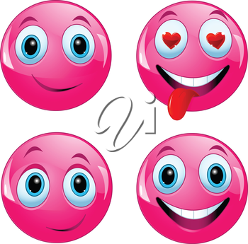 Pink smiley ball being happy, in love and enjoying