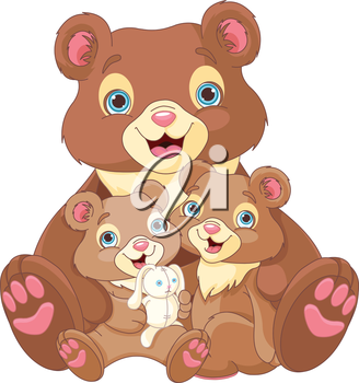 Illustration of  bear family