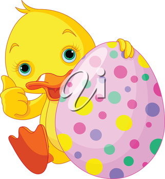 Illustration of Easter Duckling gives thumbs up