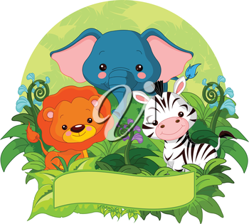 Illustration of cute jungle animals on nature background