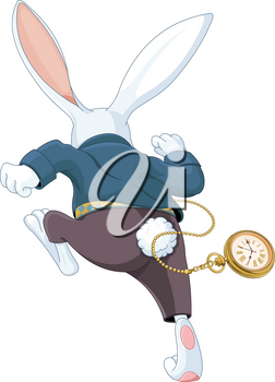 Illustration of white rabbit running away