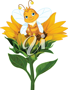 Illustration of a cute queen bee sits on sunflower