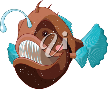 Illustration of cute angler fish