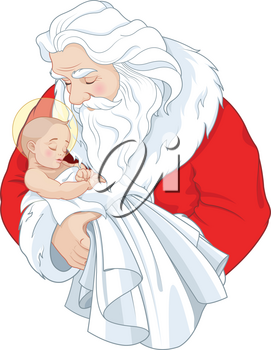 Baby Jesus and Santa Claus