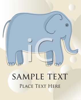 Royalty Free Clipart Image of an Elephant on a Card