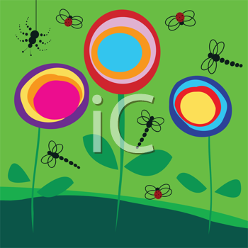Royalty Free Clipart Image of Lollipop Flowers With Bugs