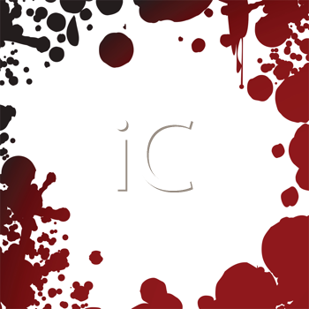 Royalty Free Clipart Image of a Red Splattered Frame