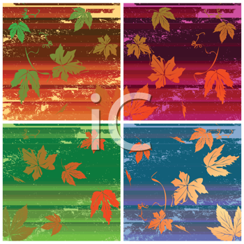 Royalty Free Clipart Image of a Collection of Leaf Backgrounds