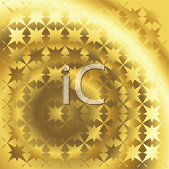 Royalty Free Clipart Image of a Polished Gold Texture With a Stars Motif