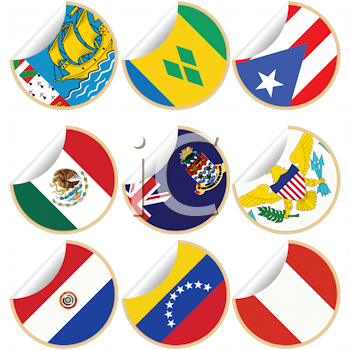 Royalty Free Clipart Image of Flags from Central and South American Countries