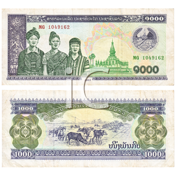 Royalty Free Photo of Both Sides of a Laotian 1000 Kip Banknote