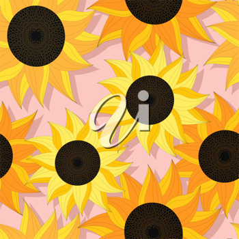 Decorative seamless background with sunflowers, graphic art
