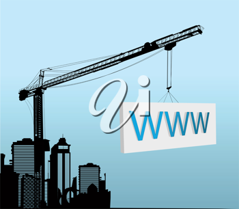 Conceptual graphic with a large tower crane with www sign