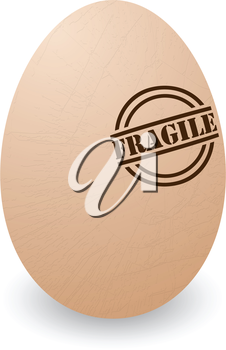 Conceptual illustration of a cracked egg with fragile stamp