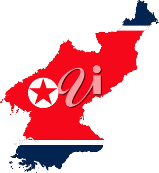 Democratics People republic of Korea, detailed outline map and flag over white background.