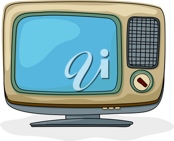 Retro style tv drawing over white background
